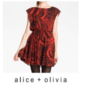 Alice + Olivia Red Rose Print Corwin Dress